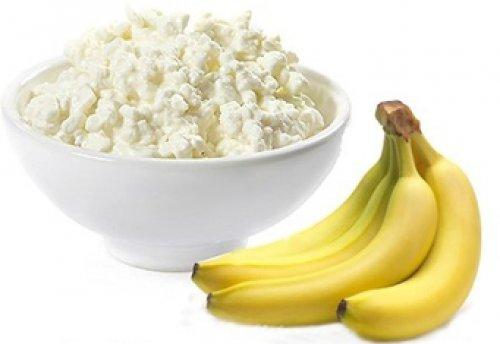 творог, бананы