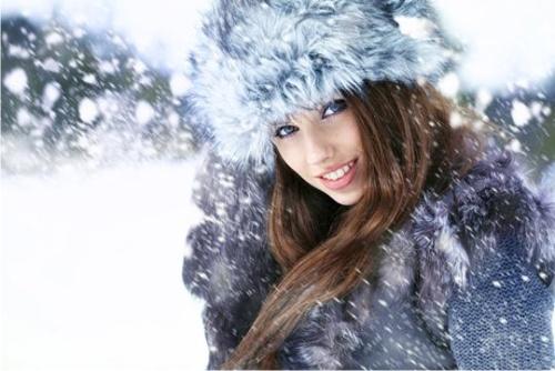 зима, женщина