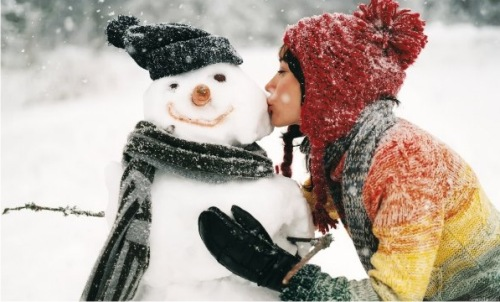 зима девушка