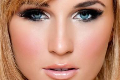 макияж, голубые глаза, тени, тушь